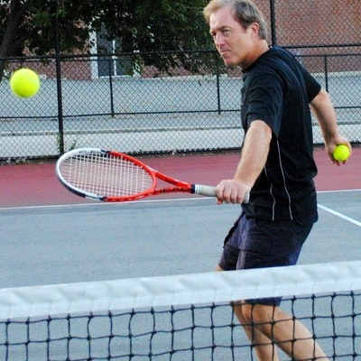 Ron B. teaches tennis lessons in Rockland, MA